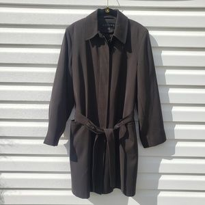 Gallery Womans Black Trench Coat Size Small